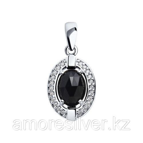 Подвеска SOKOLOV серебро с родием, агат фианит , овал 92030567