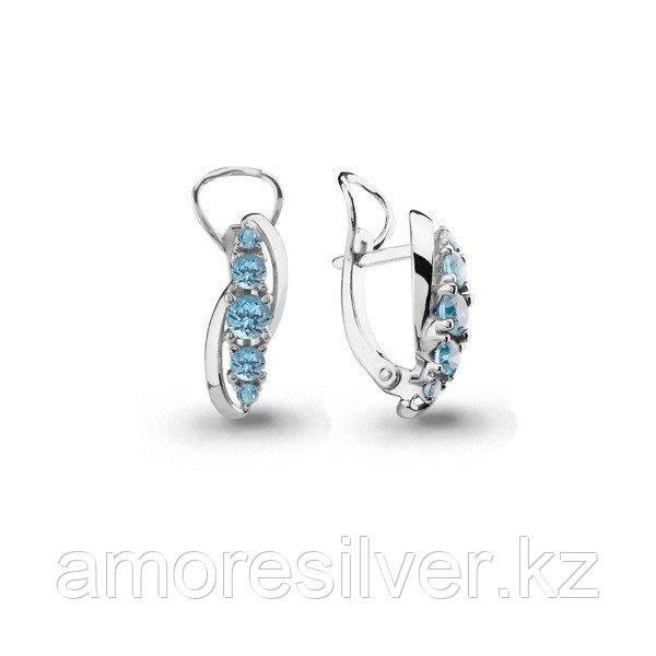Серьги Aquamarine серебро с родием, топаз, многокаменка 4403302.5