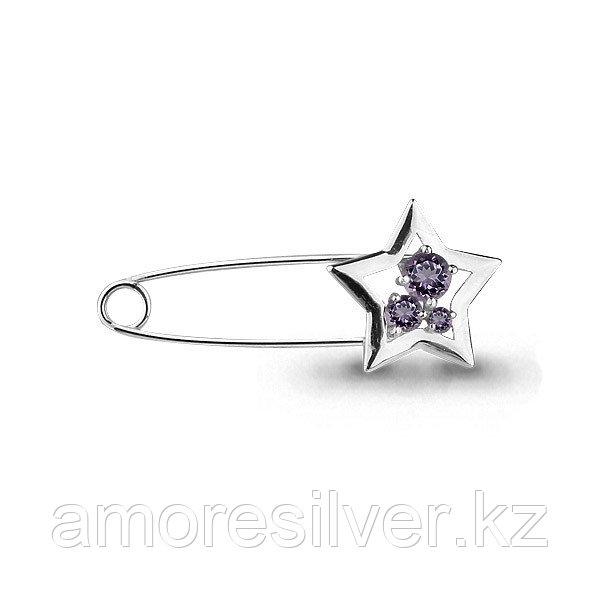 Брошь Aquamarine серебро с родием, аметист, символы 7272504.5