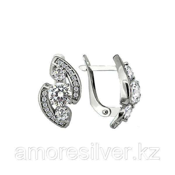 Серьги Aquamarine серебро с родием, фианит, геометрия 45221А.5