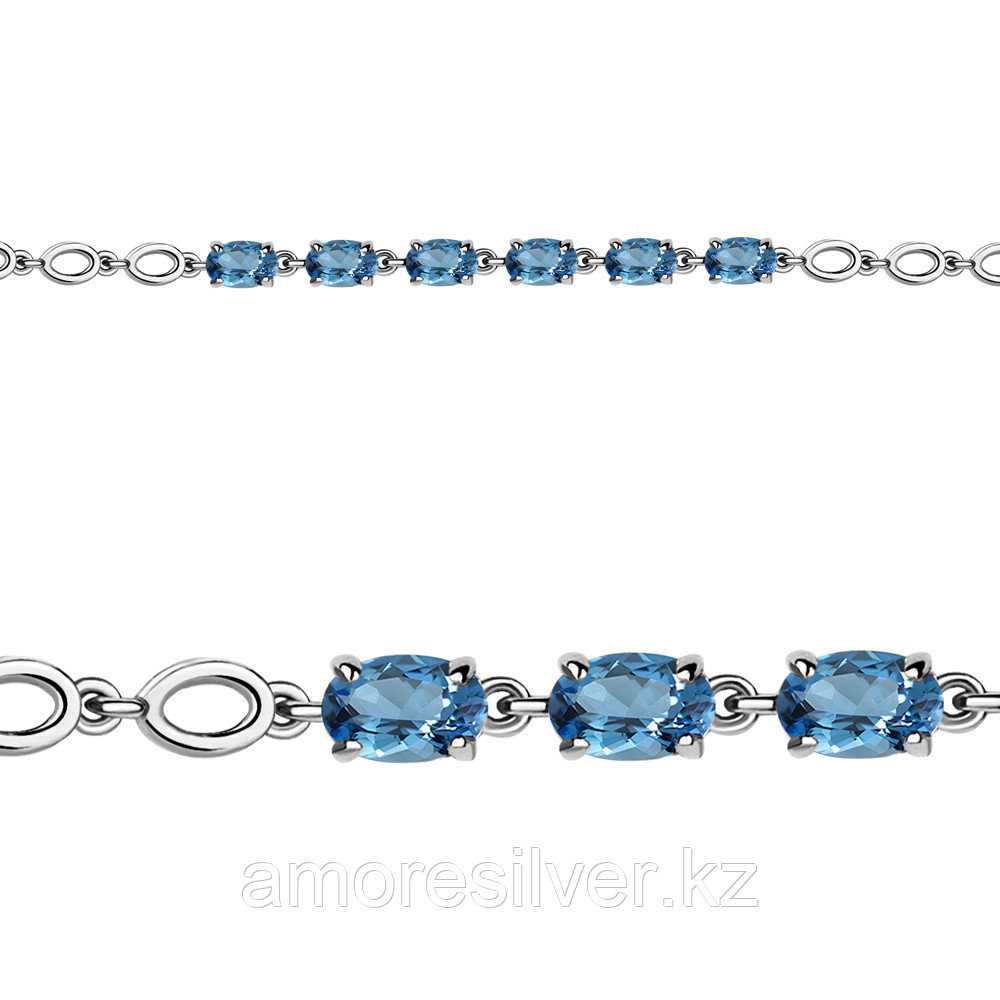 Браслет Aquamarine серебро с родием, топаз свисс, многокаменка 7446805.5