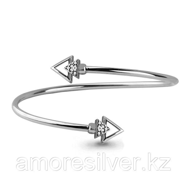 Браслет Аквамарин серебро с родием, фианит 74161А.5