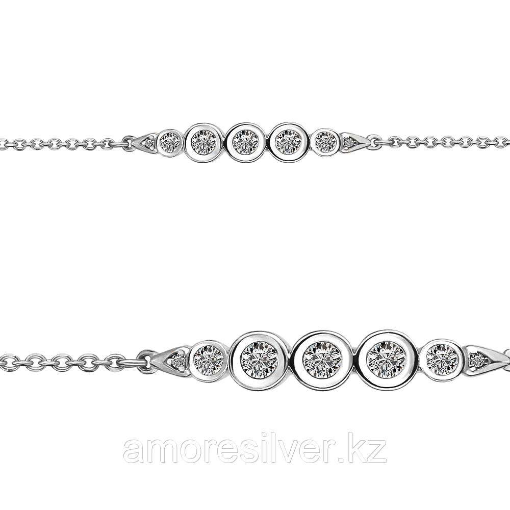Браслет Аквамарин серебро с родием, фианит 74364А.5