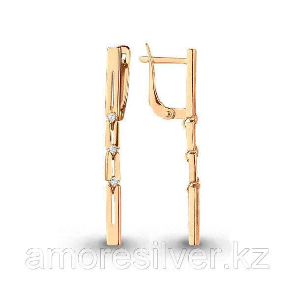 """Серьги Аквамарин серебро с позолотой, фианит, """"линии"""" 45516А.6"""