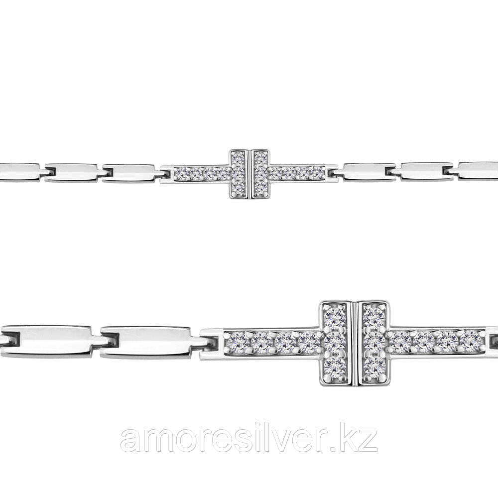 Браслет Аквамарин серебро с родием, фианит, фантазийная, геометрия 74414А.5