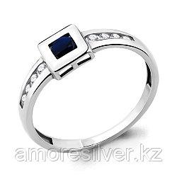 """Кольцо Aquamarine серебро с родием, нано сапфир фианит, """"halo"""" 68009Н.5 размеры - 17,5"""