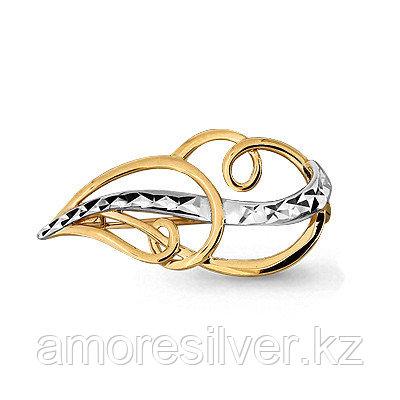 Брошь Аквамарин серебро с позолотой, перья и крылья 72577.6