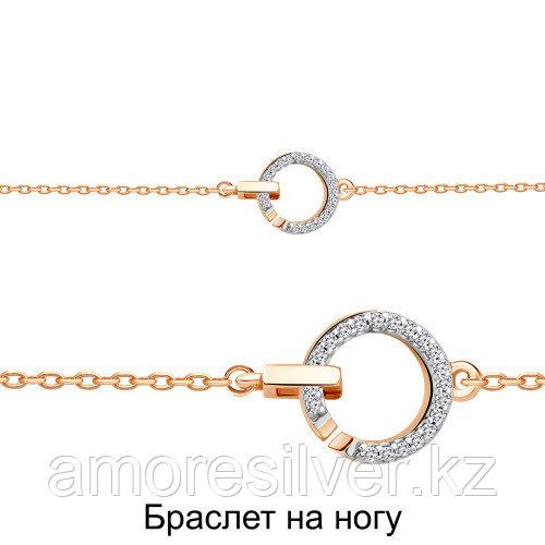 Браслет Aquamarine серебро с позолотой, фианит, круг 74491А.6