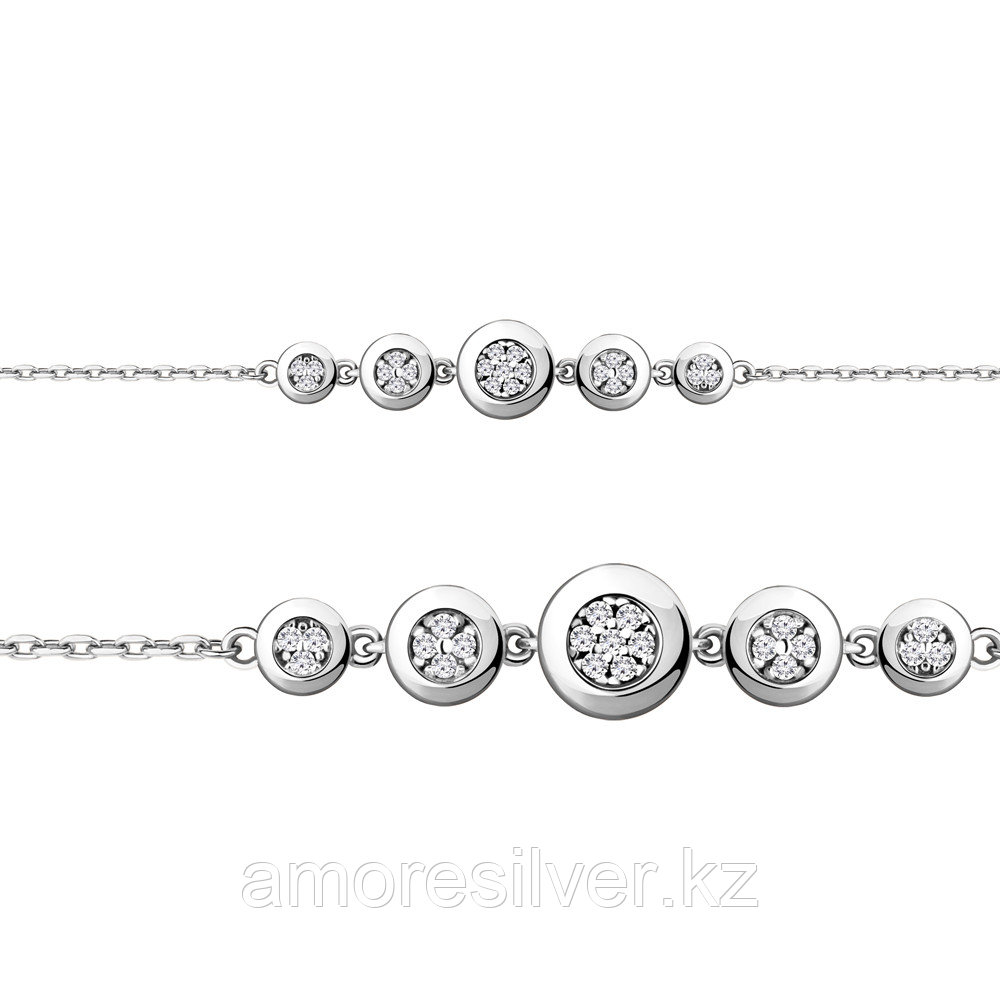 Браслет Aquamarine серебро с родием, фианит, круг 74488А.5