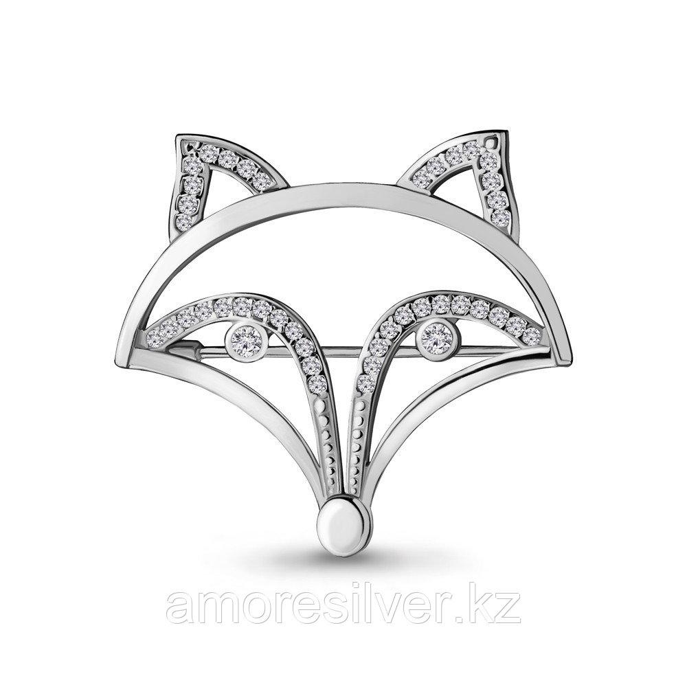 Брошь Aquamarine серебро с родием, фианит, фауна 77319А.5