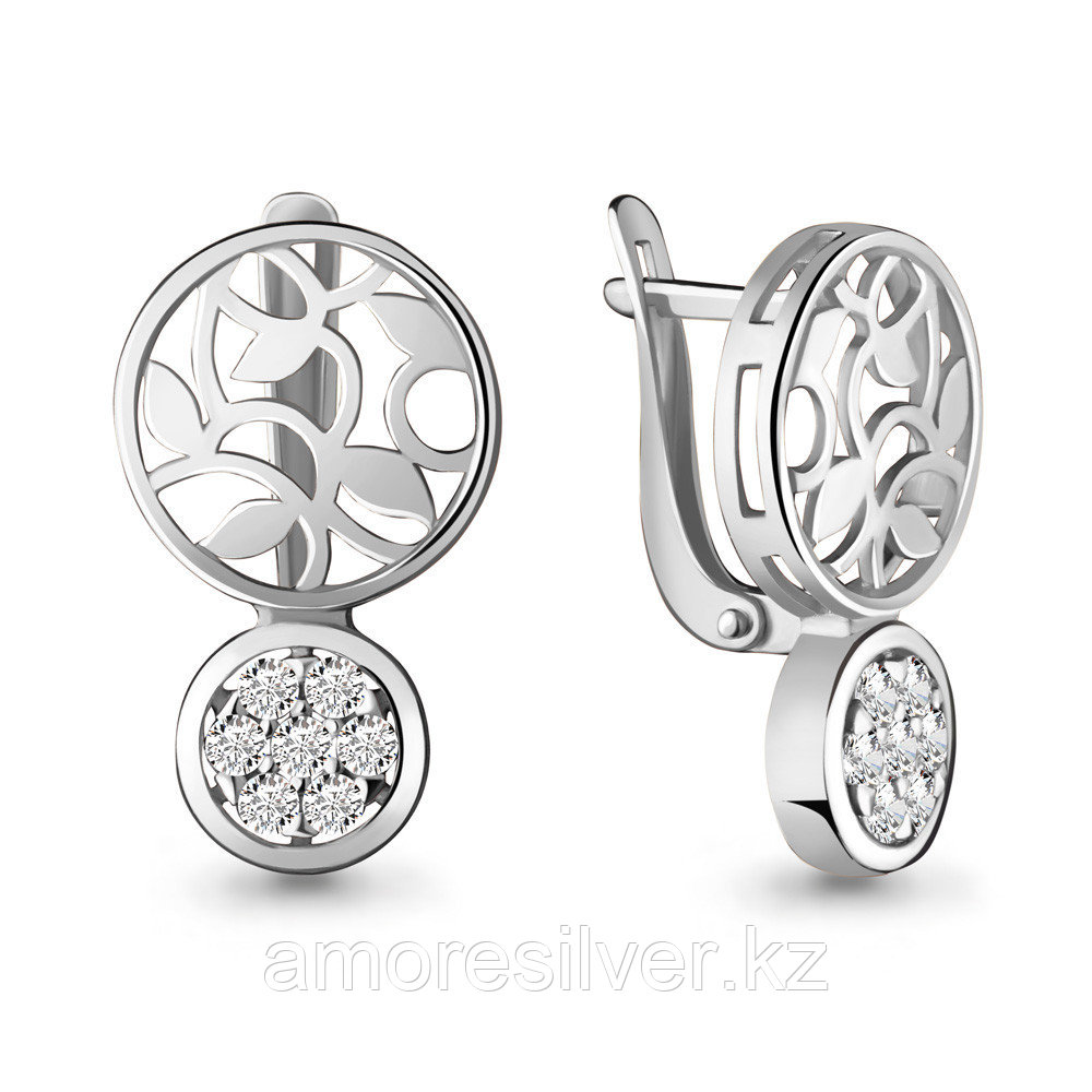 Серьги Aquamarine серебро с родием, фианит, круг 46960А.5