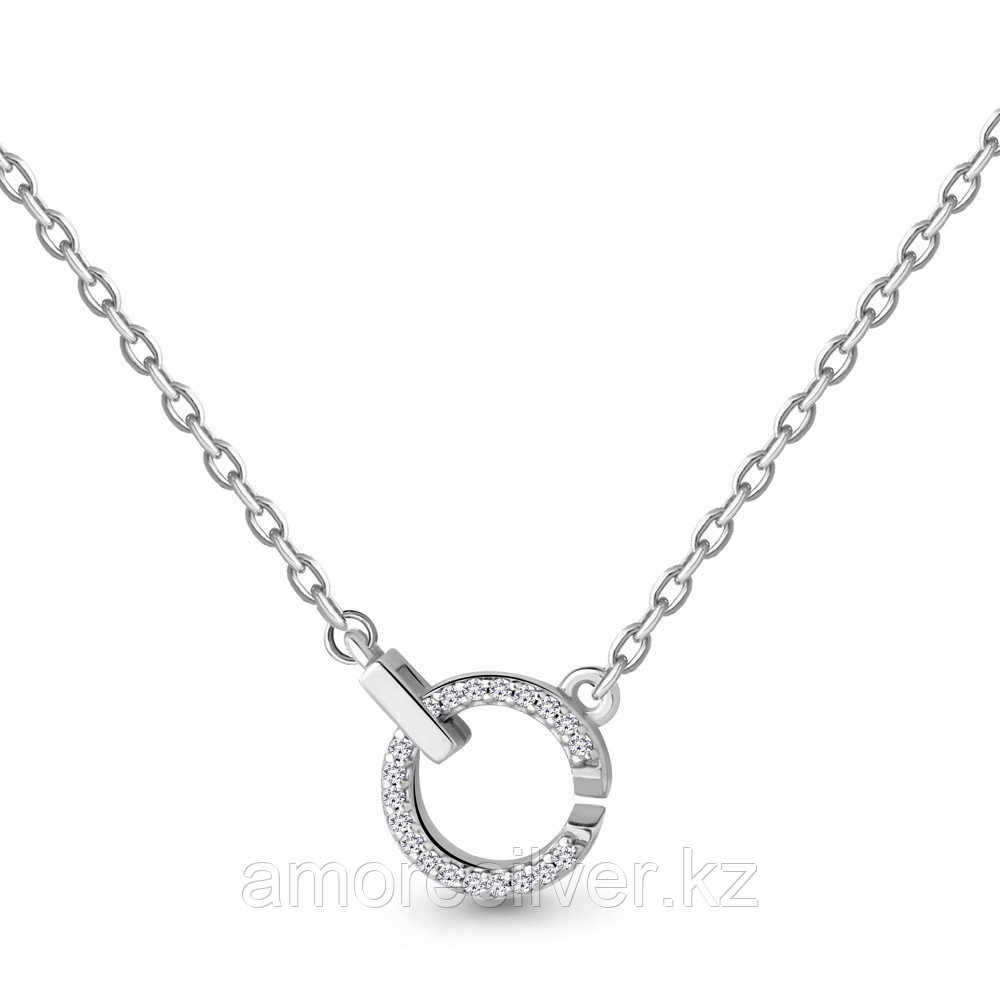 Колье Aquamarine серебро с родием, фианит, круг 73582А.5
