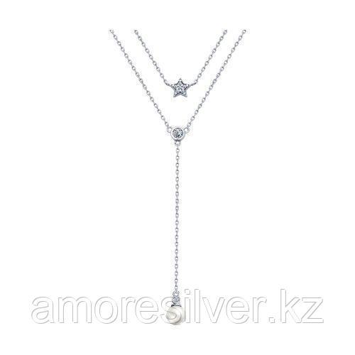 Колье SOKOLOV серебро с родием, жемчуг фианит 94070118