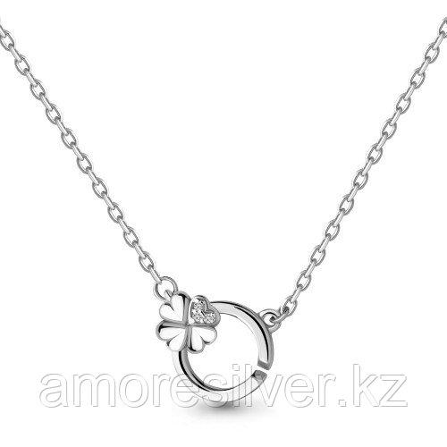 Колье Aquamarine серебро с родием, фианит, флора 73581А.5