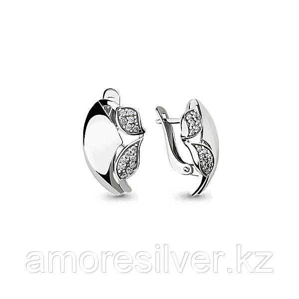 Серьги Aquamarine серебро с родием, фианит, флора 46024А.5