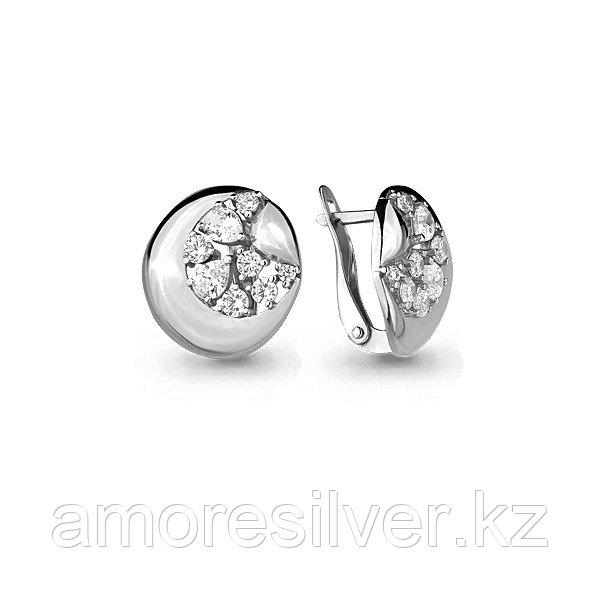 Серьги Aquamarine серебро с родием, фианит, геометрия 45863А.5