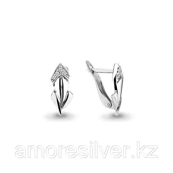 """Серьги Aquamarine серебро с родием, фианит, """"линии"""" 45910А.5"""