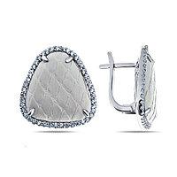 Серьги TEO SANTINI серебро с родием, фианит кожа, треугольник DZE150051E