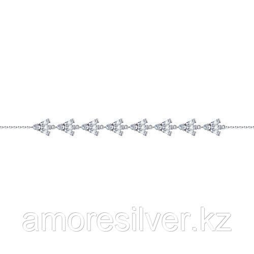 Браслет SOKOLOV серебро с родием, фианит , геометрия 94050547 размеры - 17 18