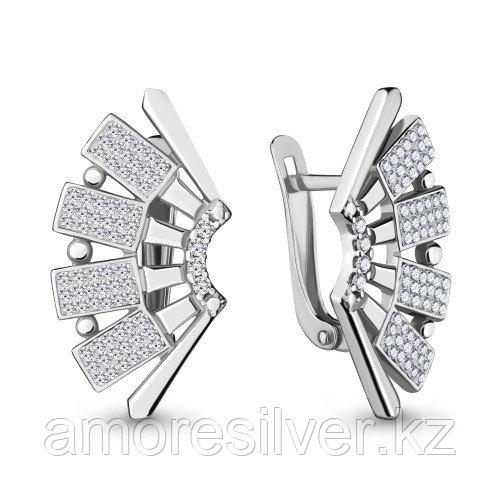 Серьги Aquamarine серебро с родием, стекло фианит 48138А.5