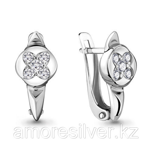 Серьги Aquamarine серебро с родием, фианит, фантазия 48072А.5