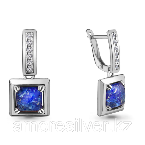 "Серьги Aquamarine серебро с родием, фианит, ""каратник"" 46782АБ.5"