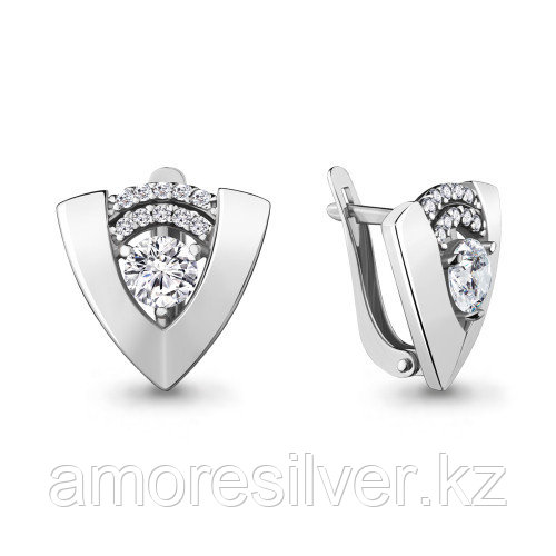 Серьги Aquamarine серебро с родием, фианит, геометрия 48036А.5