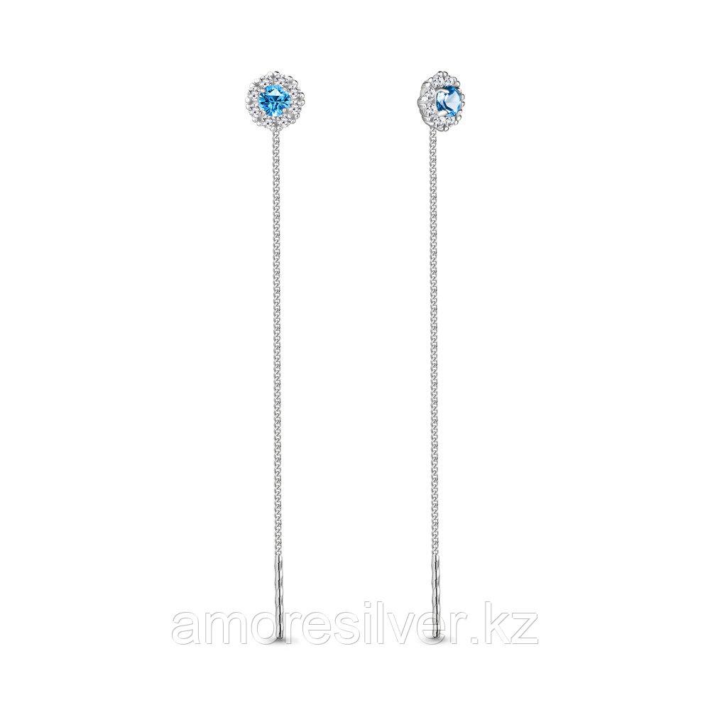 """Серьги Aquamarine серебро с родием, стекло фианит, """"halo"""" 41024Б.5"""