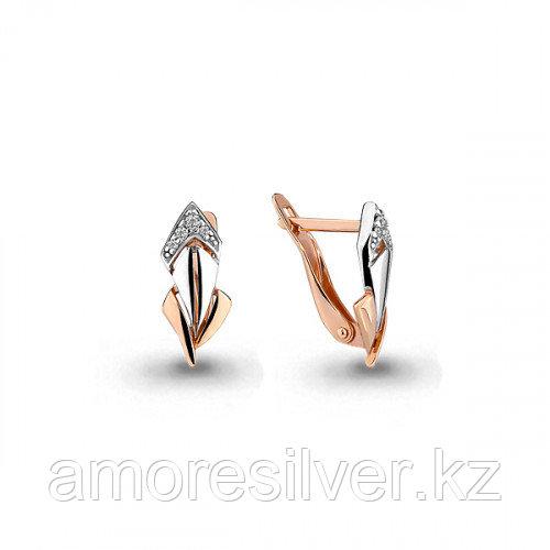 """Серьги Aquamarine серебро с позолотой, фианит, """"линии"""" 45910А.6"""