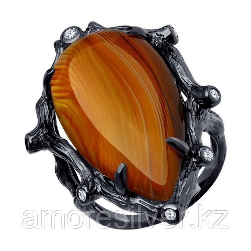 Кольцо SOKOLOV серебро с родием, агат фианит, модное 94-310-00516-1 размеры - 19,5