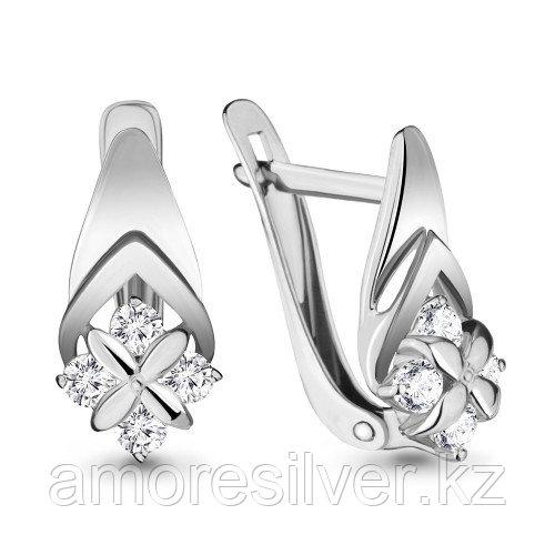 Серьги Aquamarine серебро с родием, фианит 46633А.5