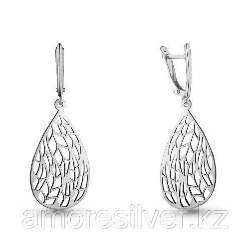 Серьги Aquamarine серебро с родием, без вставок, капля 33557.5
