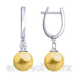 Серьги SOKOLOV серебро с родием, жемчуг swarovski синт.  фианит , модное 94023018