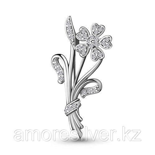 Брошь Aquamarine серебро с родием, фианит, флора 77349А.5
