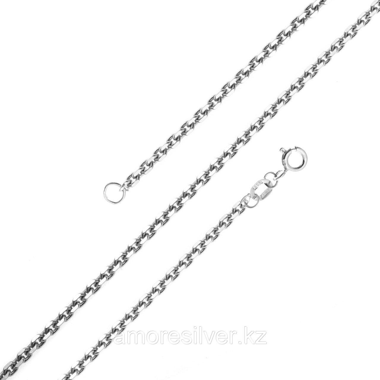 Цепь Красцветмет серебро с родием, без вставок, якорная НЦ 22-053-3-030 размеры - 40 45 50