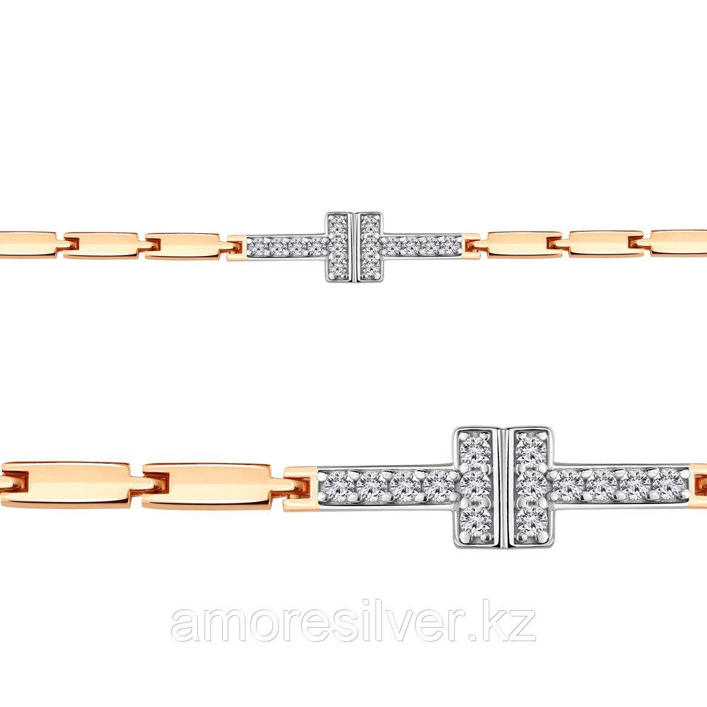 Браслет AQUAMARINE серебро с позолотой, фианит, квадрат 74414А.6
