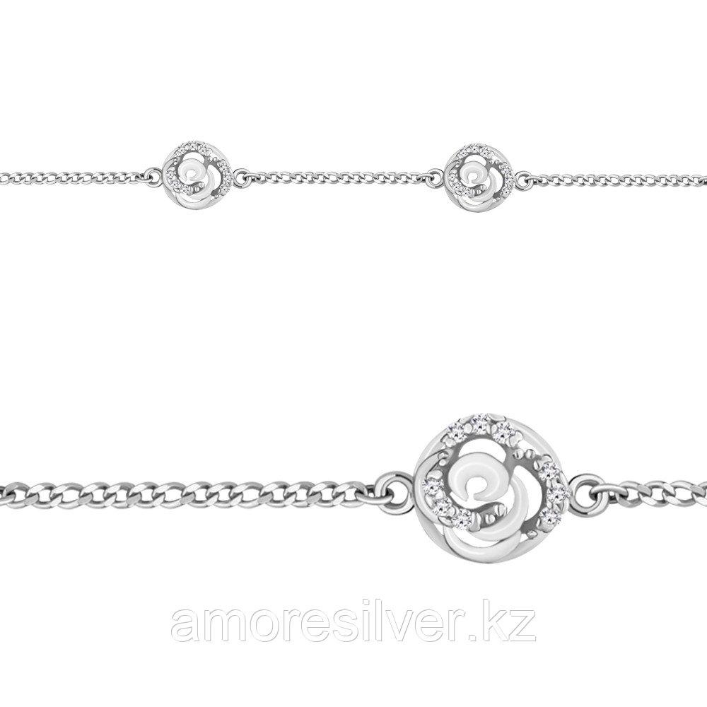 Браслет AQUAMARINE серебро с родием, фианит, геометрия 74366А.5
