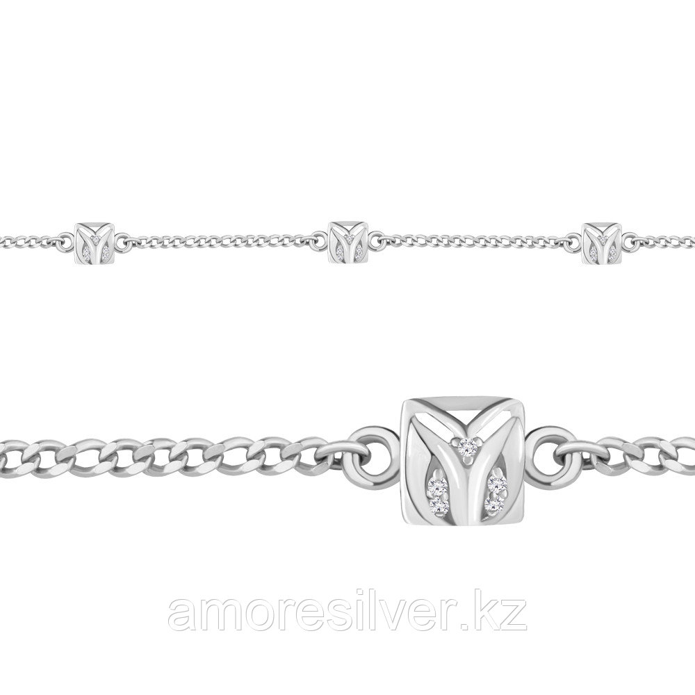 Браслет AQUAMARINE серебро с родием, фианит, геометрия 74370А.5