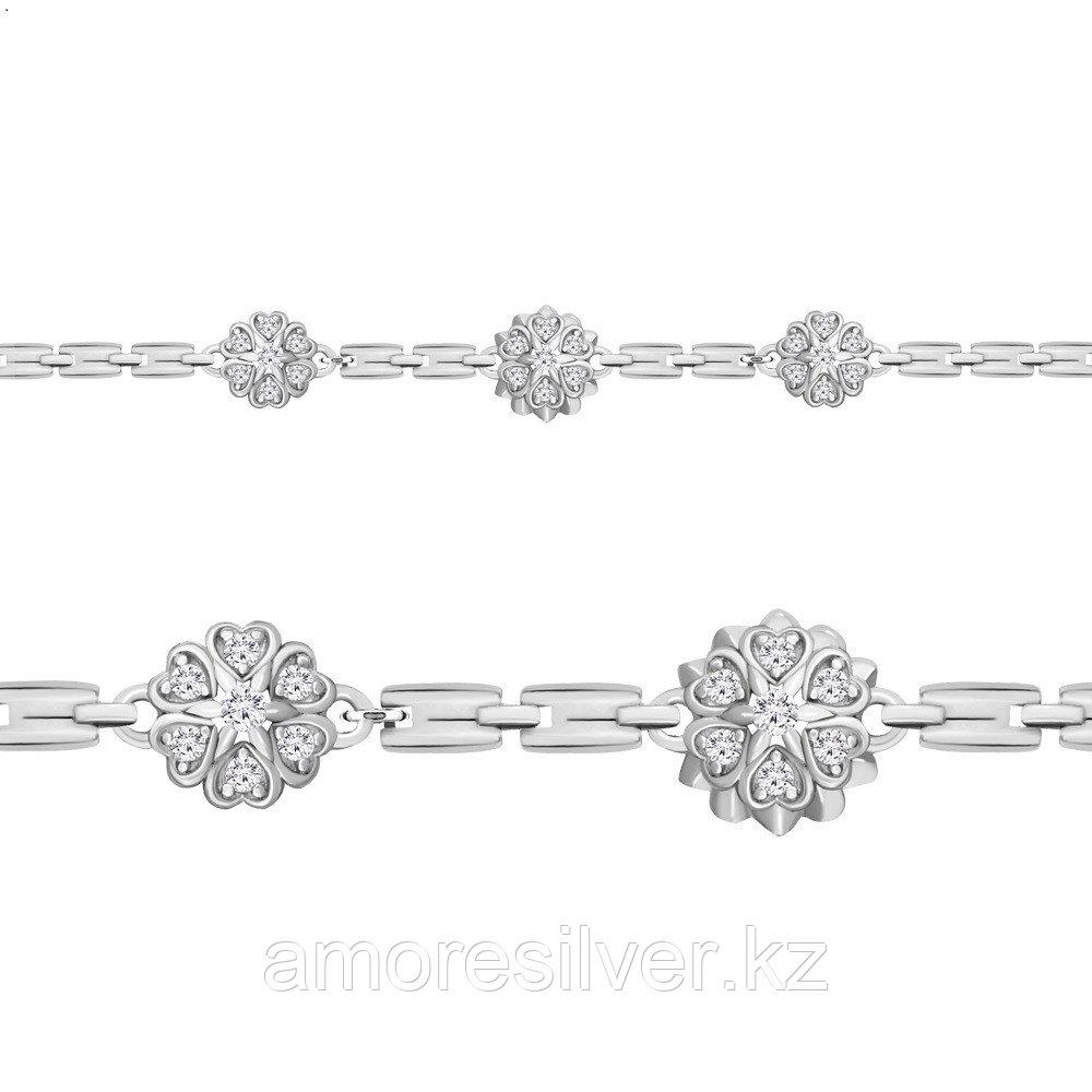 Браслет AQUAMARINE серебро с родием, фианит, геометрия 74376А.5