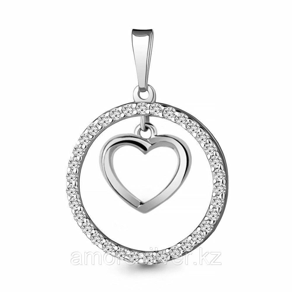 Подвеска AQUAMARINE серебро с родием, фианит, love 24382А.5