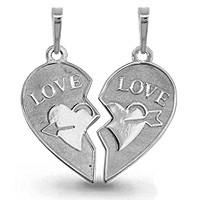 Подвеска AQUAMARINE серебро с родием, без вставок, love 13503.5