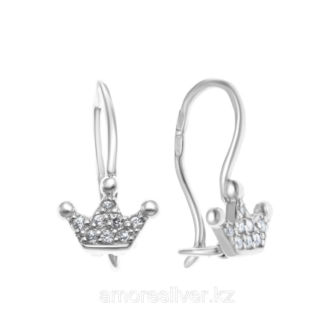 Серьги TEOSA серебро с родием, фианит, корона С630-1079