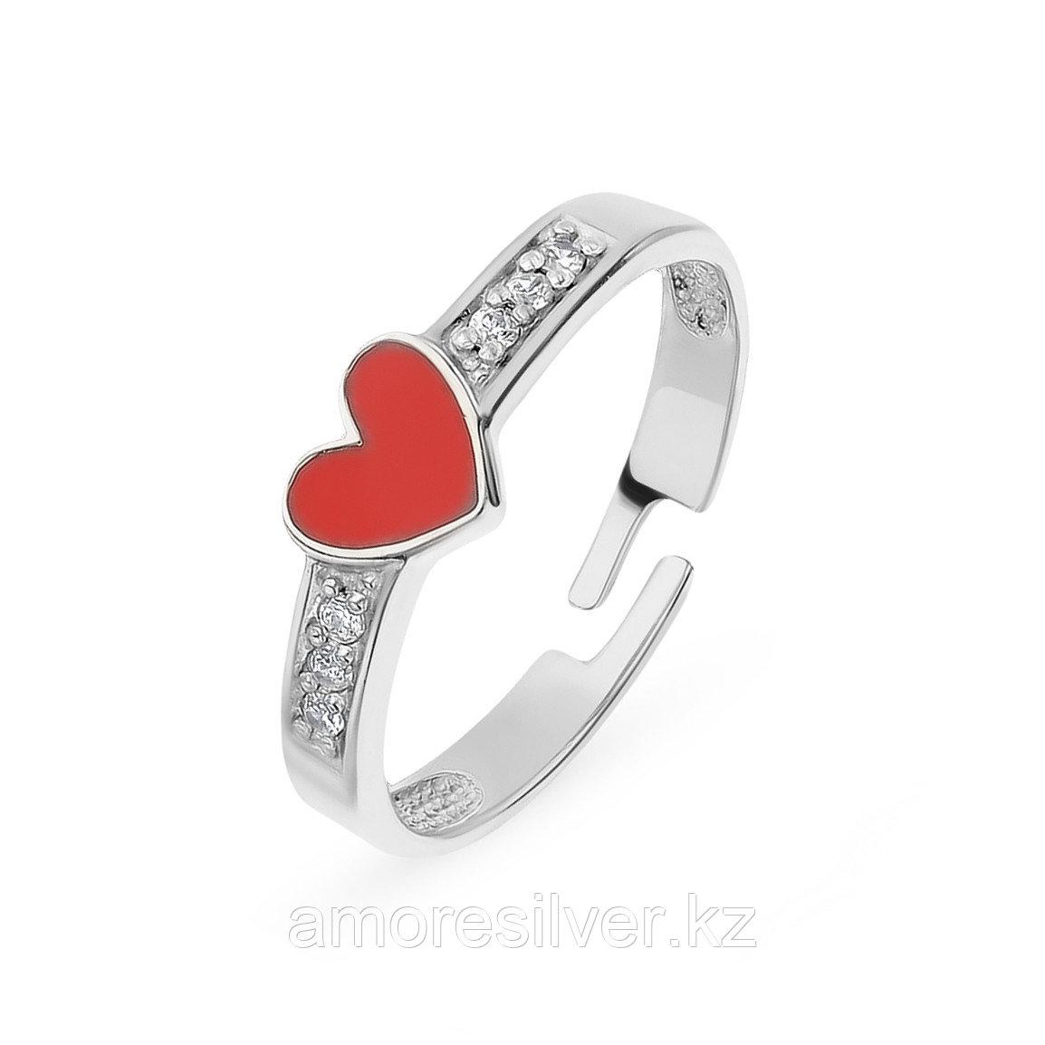Кольцо TEOSA серебро с родием, фианит эмаль, love К638-1149М1 размеры - 14,5