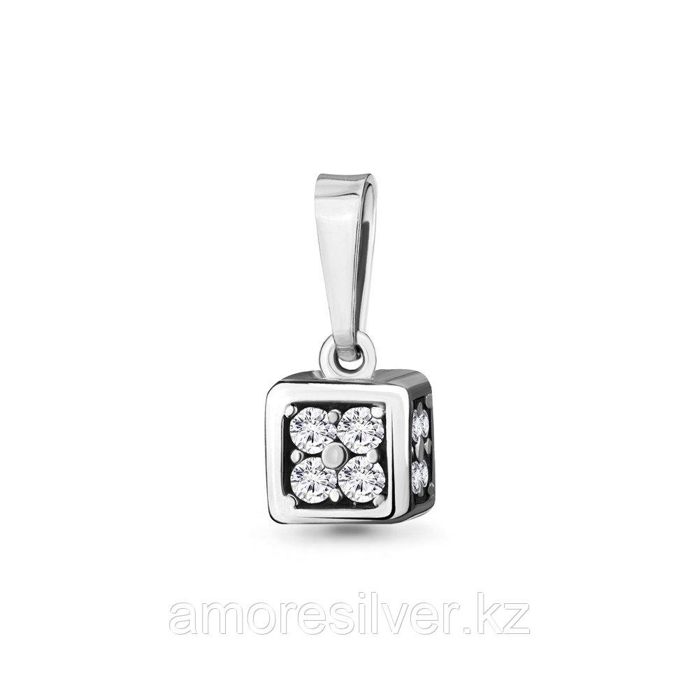Подвеска AQUAMARINE серебро с родием, фианит, квадрат 24293А.5