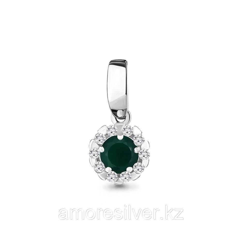 """Подвеска AQUAMARINE серебро с родием, агат зеленый фианит, """"halo"""" 2503109А.5"""