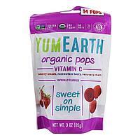 Органические леденцы YumEarth на палочке c Витамином С (клубника, вишня, ягода) 14шт/уп