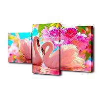 """Картина модульная на подрамнике """"Пара лебедей,розовые цветы"""" 26х50; 26х40; 26х32, 50х80см"""