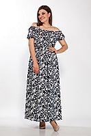 Женское летнее льняное платье LaKona 1379 синий-белый_цветы 48р.