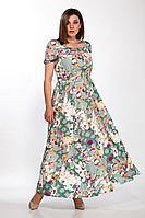 Женское летнее льняное платье LaKona 1379 ментол-белый 48р.