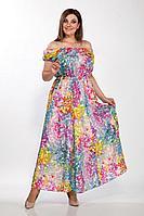 Женское летнее льняное платье LaKona 1379 мультиколор 48р.